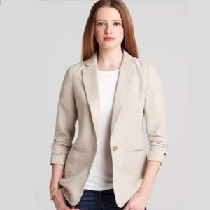 MICHAEL KORS Linen Beige Jacket Blazer Gold button